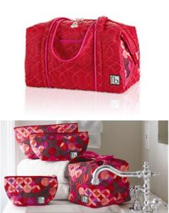 Roundabout Red Overnighter & Matching Cosmetic Bags