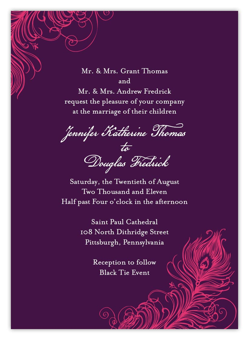 Peacock feather wedding invitations how to pick wording and how to pick wording and terminology to get a las vegas nv theme wedding party invitation associations matrimony stopboris Choice Image