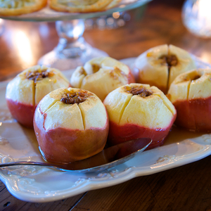 Baked apples stuffed with dried fruit and pecans ...